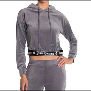 Juicy Couture Y2k Cropped Velour Velvet Sweater